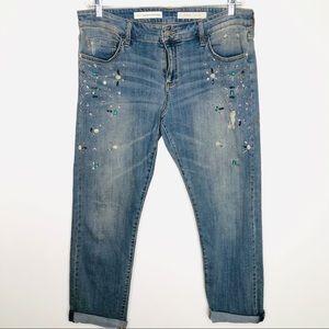 Pilcro And Letterpress Embellished Jeans Size 31